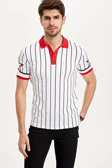 DeFacto Çizgili Slim Fit Polo T-shirt Beyaz